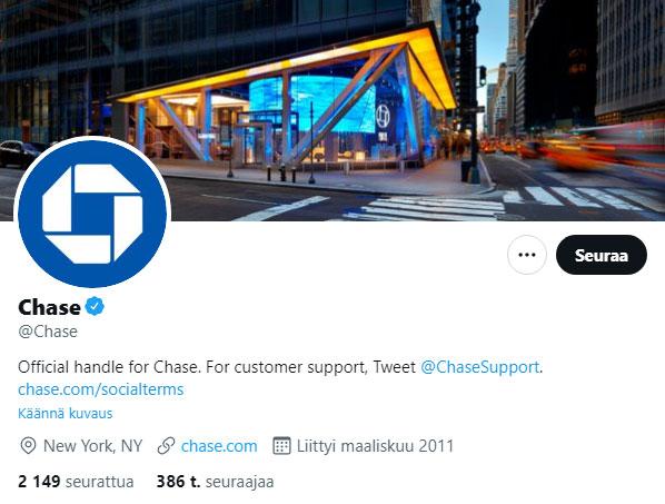 Chase-pankin Twitter-profiili 2021.