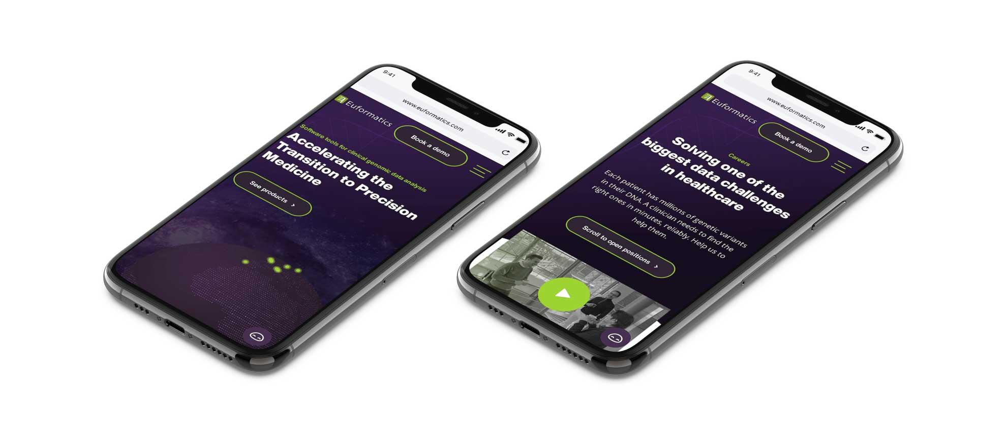 Euformatics sivunäkymiä mobiililaitteessa