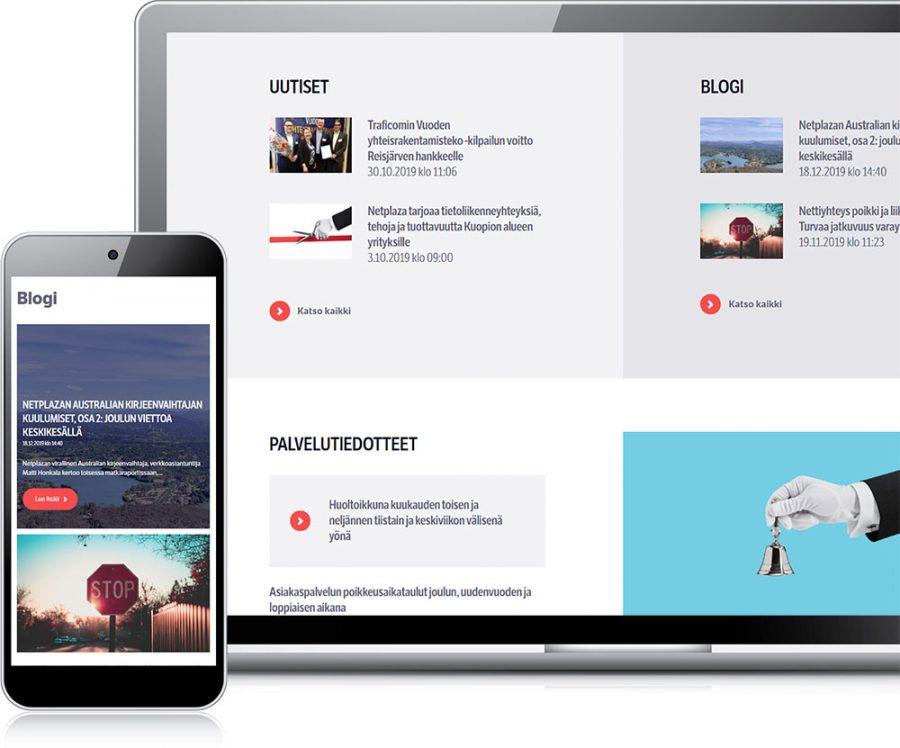 Netplaza verkkosivut eri laitteilla