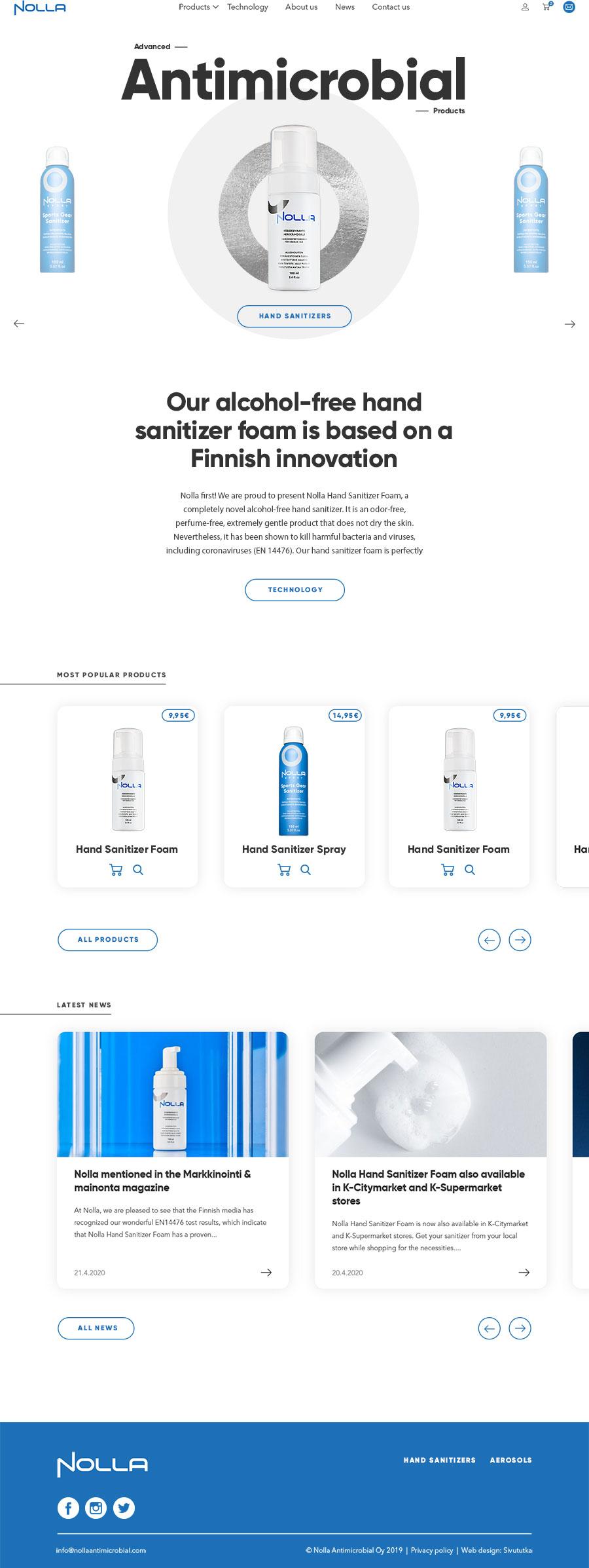 Nolla Antimicrobial verkkosivut
