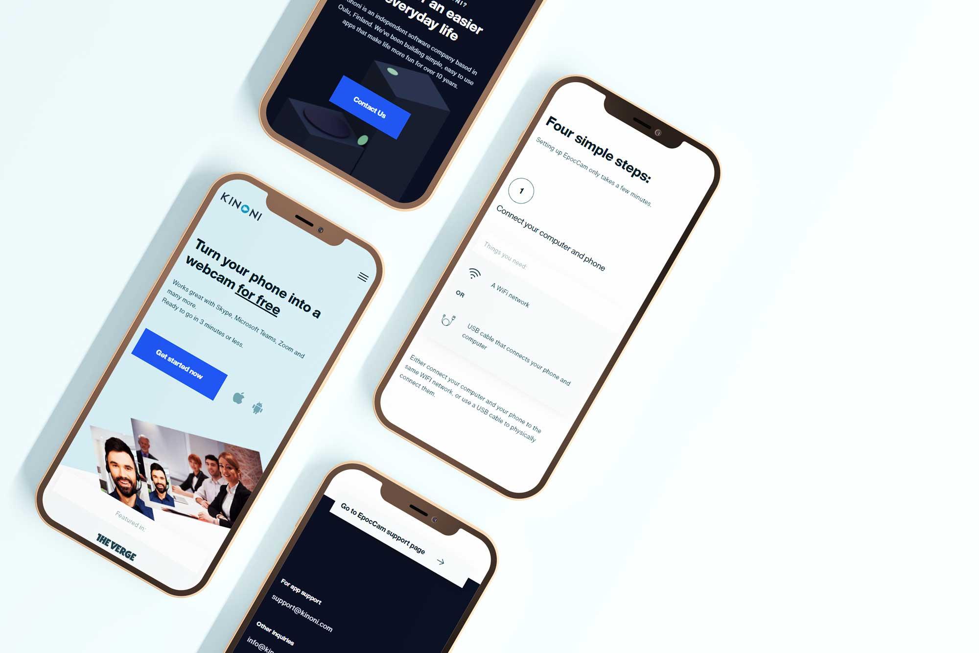 kinoni.com etusivun mobiilinäkymiä responsiivinen verkkosivusto