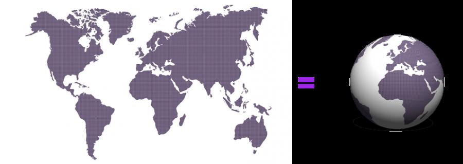Euformatics miksi 3d-pallo eikä peruskartta: havainnollistava kuva pinta-alasäästöstä kun kaksiulotteinen maailman kartta esitetään pallon pinnassa.