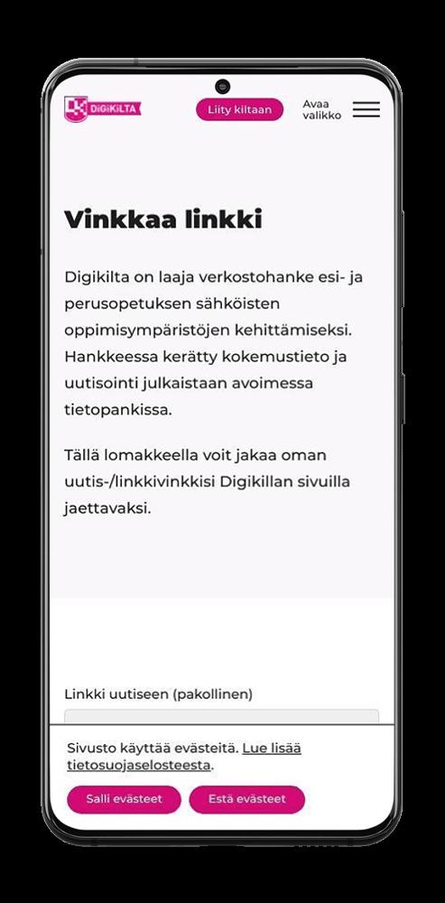 Linkkivinkkauksen sivu Digikillan verkkopalvelussa älypuhelimen näytöllä