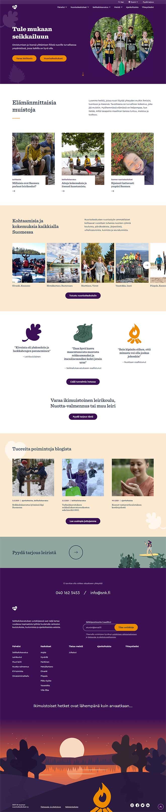 Suomen nuorisokeskukset verkkosivut desktop leiska
