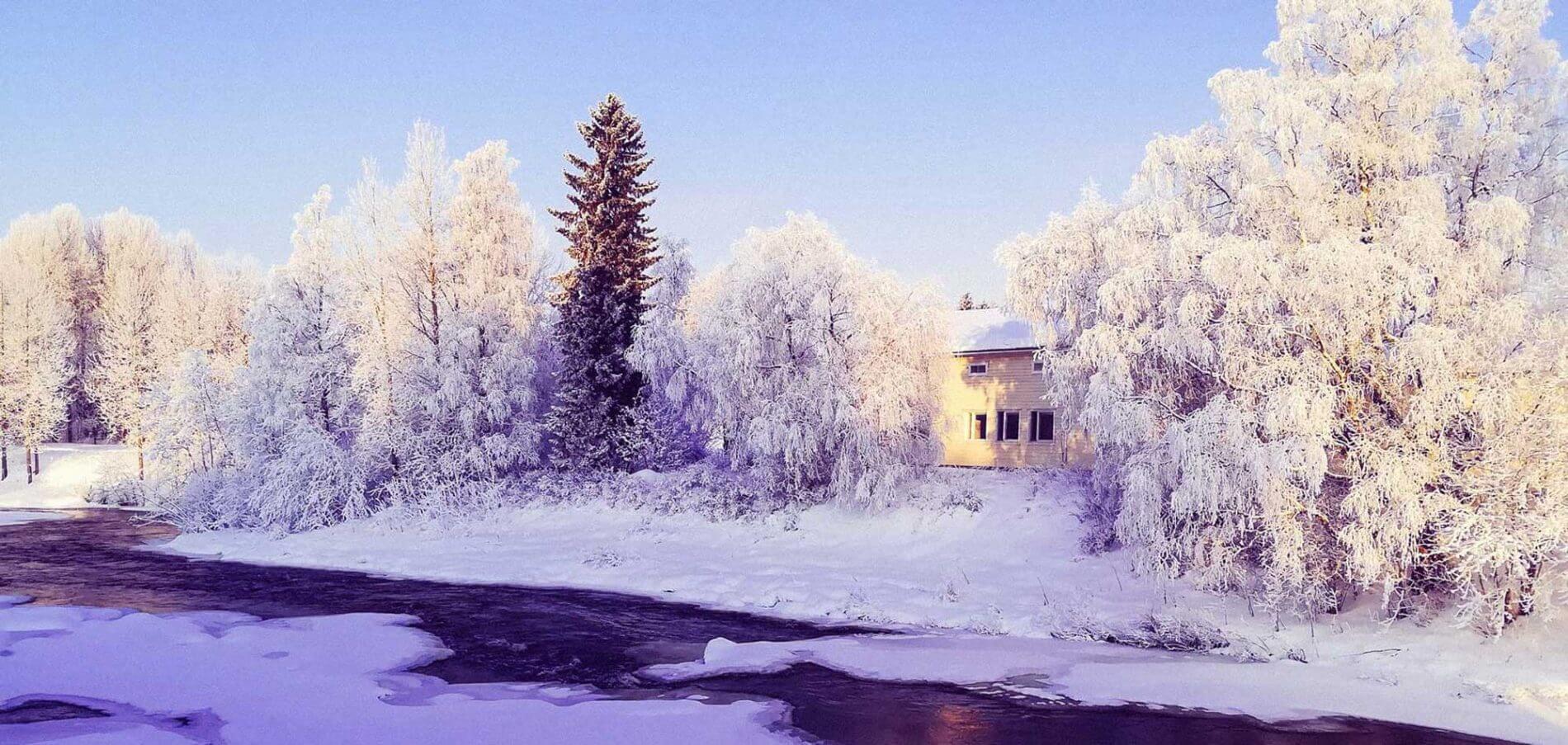 Taiteilijaresidenssi Frosterus talvikuva koskelta päin